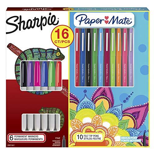 Sharpie y Paper Mater Flair kit de rotuladores permanentes y rotuladores de punta de fieltro, colores surtidos, juego de 16