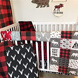 Alltot Crib Bedding Set-Woodland Red- 11 Piece Crib Bedding Set Including Crib Skirt, Crib Sheets, Rail Guard Cover, 2 Changing pad Covers, Nursing Pillow Cover, Quilt and More