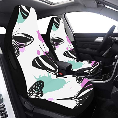 2 Pcs Set Girl Housse de siège de voiture Élégant Sky Butterfly 2 Protecteur de siège de voiture Compatible pour Airbags Universal Fit pour voitures Camions et SUV Housse de siège de voiture