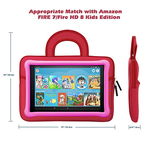 MoKo 7-8 Inch Kids Tablet Sleeve, Portable Neoprene Carrying Case Bag Fits Fire HD 8 Kids Edition 2018/2017, Fire 7 Kids Edition, Fire HD 8 Plus/Fire HD 8 2020, Fire 7, Kindle E-Reader, Dinosaur Red