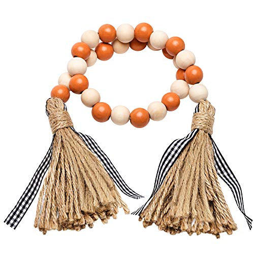 R HORSE Halloween Wood Beads Tassel Garland Farmhouse Rustic Beads with Jute Rope Plaid Tassel Natural Wood Beads Autumn Home String Prayer Wall Décor for Nursery Room Vase Ornament