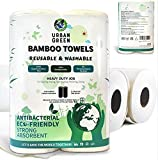 Reusable Bamboo Towels by Urban Green, Large size 2 rolls 60 sheets (Heavy Duty)