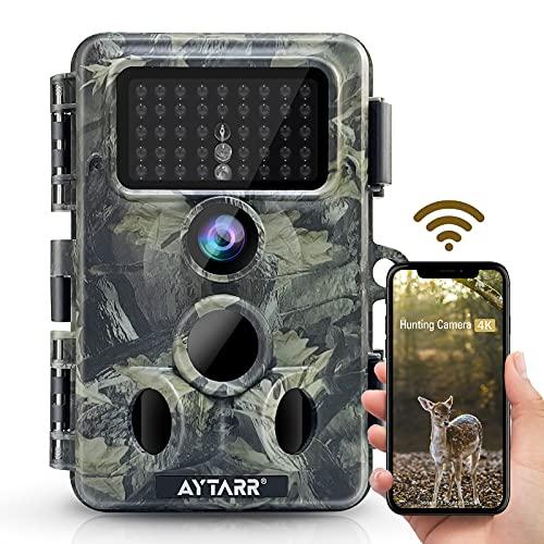 "4K 30MP WLAN Bluetooth Wildkamera, APP Control 940nm No Glow Nachtsicht Aytarr Jagdkamera 0,3s 65ft Trigger 120 ° Wide 3PIR IP66 Wasserdichter 2,4\"" LCD-Bildschirm"
