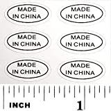 1,000+ Made in China Stickers Glossy White Oval Improved Version Deep Kiss Cut Perfect Oval Edge Self Adhesive Labels by First-Rate Gifts. Show Country of Origin on China Imported Products