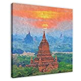 Ölgemälde Tempes of Bagan Myanmar, Leinwand-Poster,