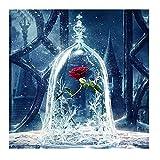 Kit de pintura de diamante 5D por número, diamante arte completo taladro de cristal de cristal rosa roja bordado punto de cruz cuadros arte arte arte decoración de la pared del hogar 30 x 30 cm
