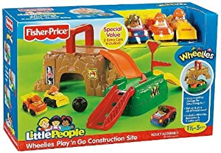 Fisher-Price - Little People - Wheelies Play 'N Go Construction Site - Playset with 3 Wheelies Vehicles - W1744