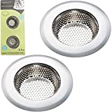 Fengbao 2PCS Bathroom Drain Strainer - Stainless Steel, Small Wide Rim 2.2' Diameter