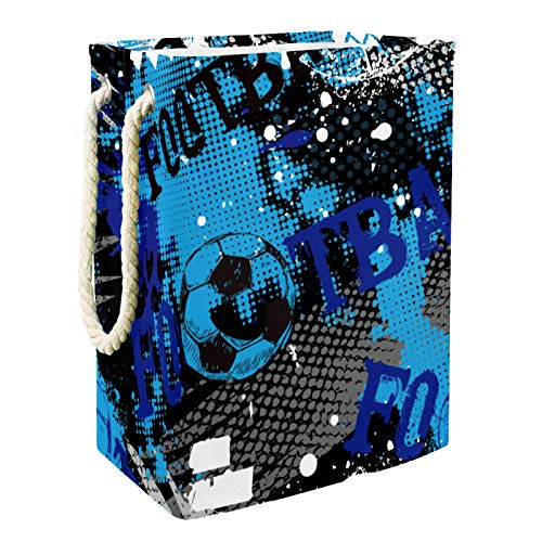 MUOOUM Cesto para ropa sucia, azul, negro, blanco, fútbol, 49 cm, impermeable, plegable, cesta para la colada, organizador de almacenamiento para la colección de juguetes