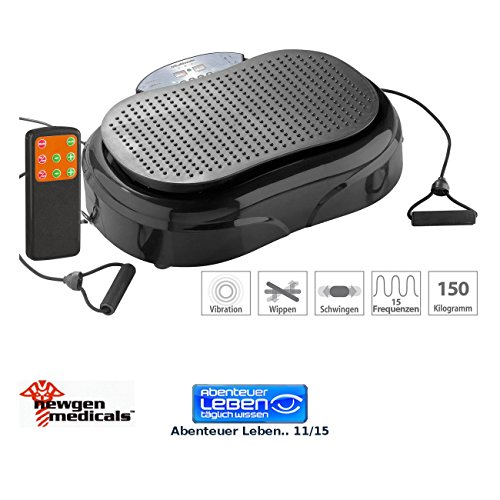 newgen medicals Vibrationstrainer: 3in1-Vibrationsplatte bis 150 kg, 300 Watt, Expander, Fernbedienung (Vibration Plate)