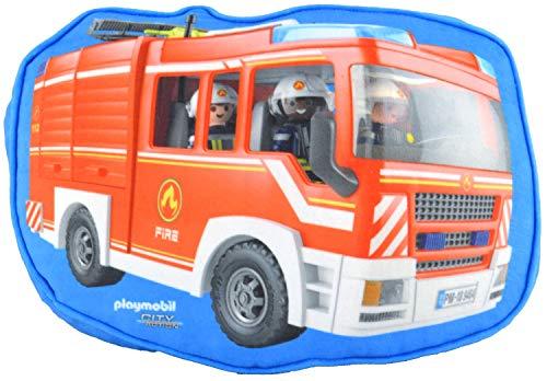 PLAYMOBIL United Labels City Action – Cojín para habitación Infantil, diseño de Bomberos, Aprox. 26 x 33 x 5 cm.