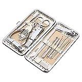 Set de manicura, 16pcs Juego de cortaúñas para lima de uñas Kit de preparación de orejas de acero inoxidable Tijeras para cejas Kit de aseo Piel muerta Retire el regalo para hombres y mujeres(Oro)