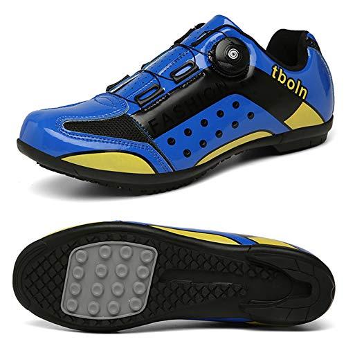 Bicicleta De Carretera Zapatillas De Ciclismo para Hombres, Mujeres, Antideslizantes, Transpirables, para Montar, Zapatos con Hebilla Giratoria (Azul)