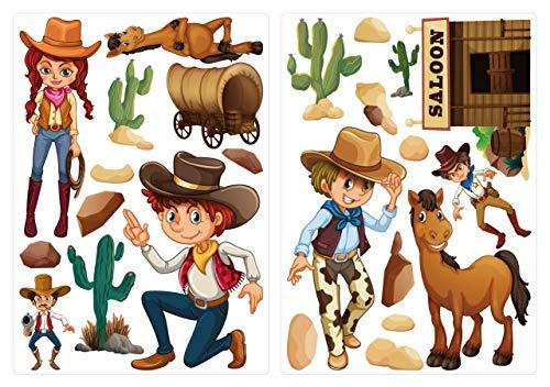 dekodino® Pegatina de pared cowboys en el salvaje oeste set decoración