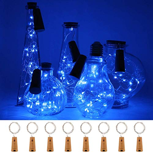 8 Pcs 20 LED Wine Bottle String Lights,Battery Operated for Bedroom,Halloween Christmas,Wedding Party Decor (Blue)