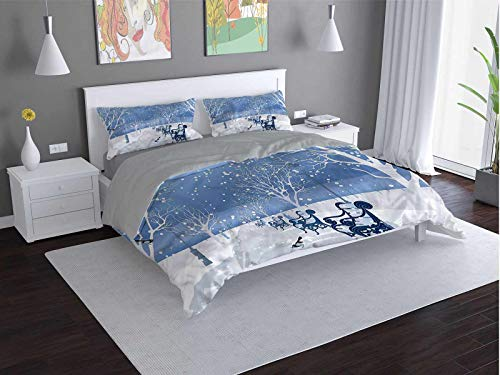 Toopeek Urban Quilt cover 3-piece set Snow-Falling-on-a-City-Winter Super soft and easy to maintain (Queen)