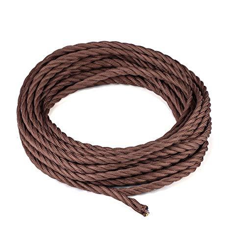 10 Meter Textilkabel, Licperron Vintage antikes verdecktes Gewebe, verdrilltes Kabel für Lampen 3-adrig mit Erdungsdraht für DIY-Lampenkabelzubehör Elektrogeräte.