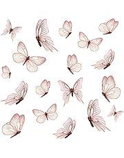 Y060 - Juego de 18 mariposas en 3 hojas DIN A4, pegatinas de pared para habitación de los niños, salón, pegatinas decorativas para pared