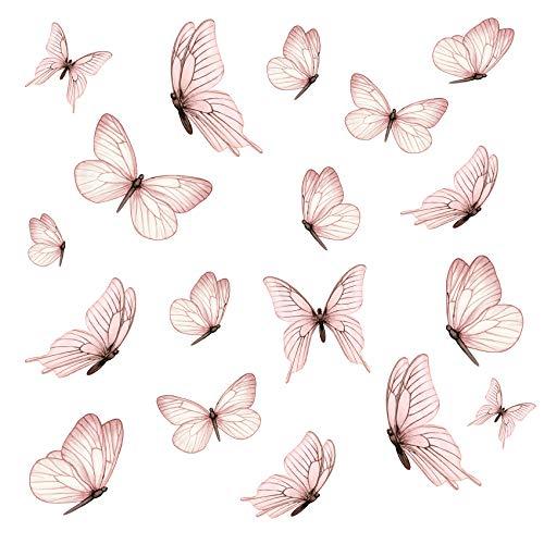 Y060 - Juego de 18 mariposas en 3 hojas DIN A4, pegatinas de pared para habitación infantil, salón, decoración de pared, autoadhesivas, color rosa