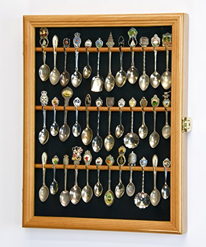 36 Spoon Display Case Wall Rack Cabinet Holder Box 98% UV - Lockable -Oak Finish