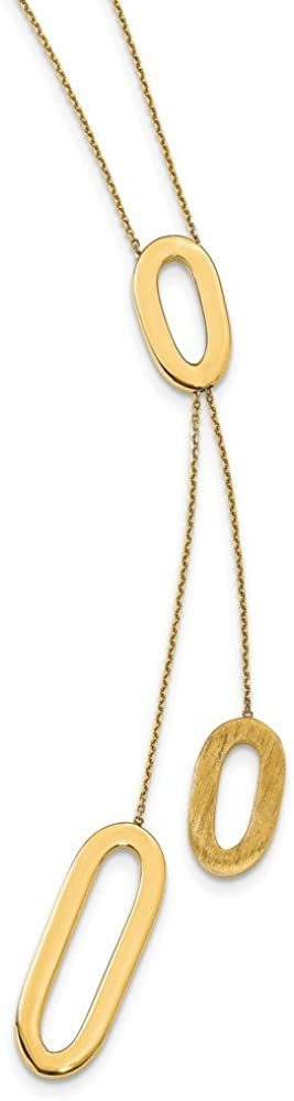 Solid 14k Yellow Gold and Brushed Y-Drop Y Shape 1 in Extension Necklace