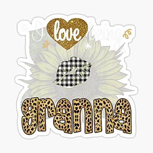 I Love Being Granna Sunflower Leopard 2021 spring and summer new Sticker Mothers Day New Free Shipping Vinyl