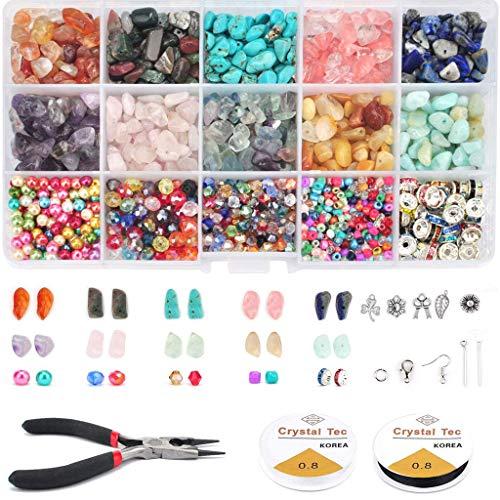 Bingxue 1600 Piezas Chips Irregulares Cuentas de Piedra Kit de Cuentas de Piedras Preciosas Cuentas de Chip de Cristal para Collar Pulsera Pendientes fabricación de Joyas