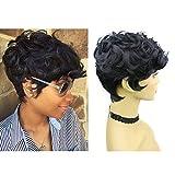 Rofa Short Wavy Synthetic Hair Wig Pixie Cut Curly Wig with Bangs for Black Women Short Cut Wigs for women Natural Looking Fiber Hair Wigs for White Women (1B#)