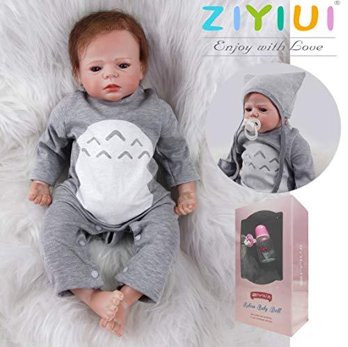 ZIYIUI Muñecas Reborn 22 Pulgadas 55 Cm Realista Muñecos Bebé Vinilo de Silicona Suave Bebé Reborn Niño Reborn Toddlers Recién Nacido Hecho a Mano Regalo de cumpleaños Juguetes