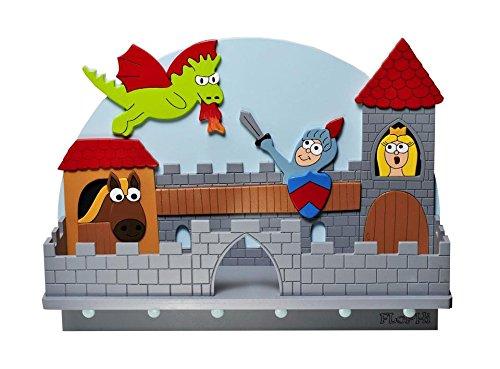 Flophi große Kindergarderobe mit Mützenablage Motiv Ritterburg