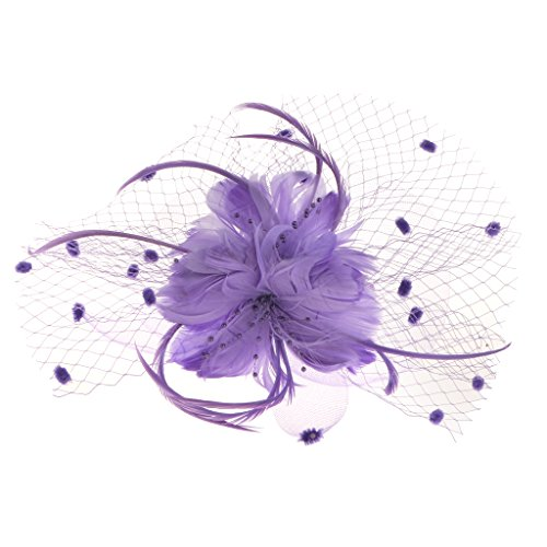 Generic Blumen-Feder-Netz Fascinator Stirnband-Hochzeit Damen Haarschmuck - Lila