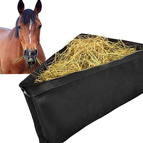 ASOOLL Black Deep Corner Feeder for Horses with Mesh Bottom Stall Trailer Hay Bags with Snaps
