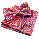 Alizeal Mens Floral Paisley Pre-tied Bow Tie, Hanky and Cufflinks Set, Yellow+Pink+Royal Blue