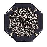 JIEIIFAFH Alta qualità Nuovo Ombrello Pioggia Donna Automatica Tre Pieghevole ombrellone Nero del Rivestimento Femminile Ultralight Parasol (Color : Black)