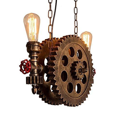 candelabro DBL Steampunk Araña, Retro Nostálgico Industrial Water Pipe Luces Pendientes Bar Cafetería Loft Creativo Decorativo diseñador Engranaje de Techo Soporte de luz de la lámpara Edison E27