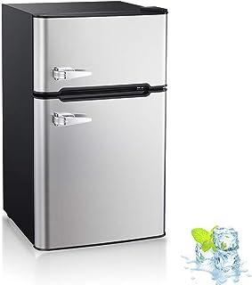 Kismile Double Door 3.2 Cu.ft Compact Refrigerator with Top Door Freezer,Freestanding mini Fridge with Adjustable Temperat...