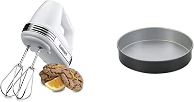 Cuisinart HM-50 Power Advantage 5-Speed Hand Mixer, White & 9-Inch Chef's Classic Nonstick Bakeware Round Cake Pan, Silver