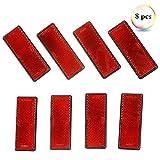 Eacalyc Reflectantes Remolque Rectangulares Rojo Adhesivo Reflectores Catadioptrico Rectangulares Reflectante para Remolque Bicicleta Camión o Máquinas Agrícolas Paquete de 8