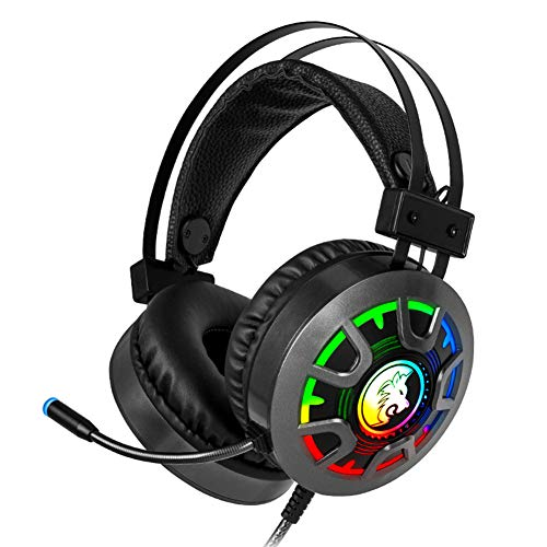 Gaming Headset Headphones with Microphone Depp Bass Surround Sound RGB Light 3.5Mm Wired for PC Computer PS4 Professional Gamer Headset