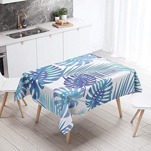 Tischdecke Abwaschbar, Chickwin Wasserdicht Polyester Rechteckig Fleckschutz Ölfest Abwaschbar Pflegeleicht Mehrzweck Gartentischdecke 3D Tropische Blätter Muster (Blaues Blatt,140x220cm)