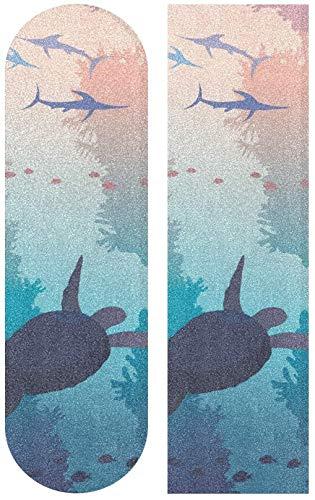 WWJ Turtle and Sword Fishe Underwater Sea Wildlife Skateboard Cinta de Agarre Hoja Scooter Deck Papel de Arena 9'x 33'