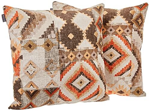 DHestia Pack x 2 Fundas Cojines Decoración Sofá y Cama 45x45 cm Diseño (Etnic 156), Multicolor, 45 x 45 cm