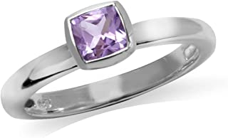 Natural Cushion Cut Amethyst 925 Sterling Silver Stack Stackable Solitaire Ring
