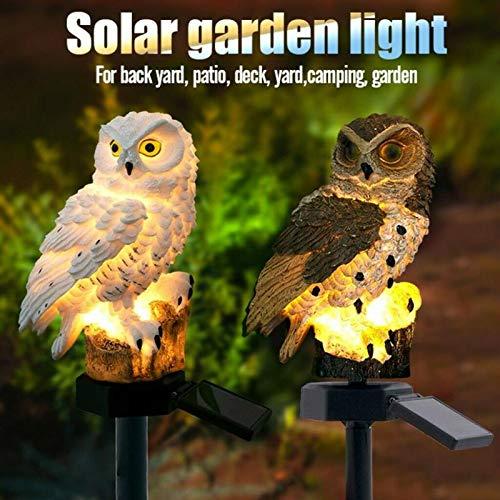 Owl Shape Light LED Solar Garden Light Owl Lawn Lamp Waterproof Solar Led Lights Outdoor Yard Garden Creative Solar Lamps (White)