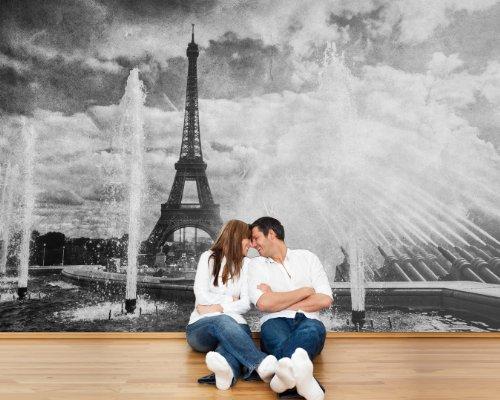 Bilderdepot24 Autoadhesivo Fotomural Torre Eiffel en el Estilo Retro - París Francia - Blanco y Negro 420x270 cm - Papel Pintado - Fototapete - la fabricación Made in Germany!