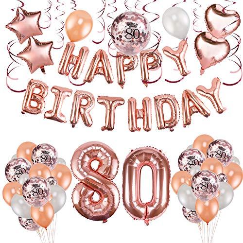 HOWAF Decoración de cumpleaños 80 en Oro Rosa para Mujeres, 59 Piezas Feliz cumpleaños Decoración Globos Guirnalda Banner 80 Años Globos de Confeti y Estrella Corazon Globos de Aluminio