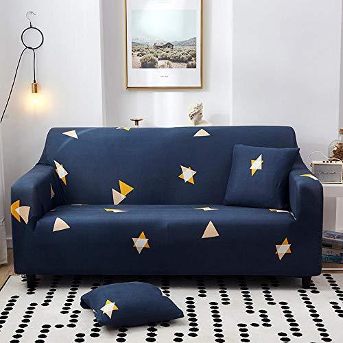 Fundas Sofa Elasticas Chaise Longue,Extraíbles Y Lavables,Moderno Cubre Sofa Chaise Longue Universal Fundas Protectora Para Sofa Contra Polvo En Forma De L 1 Piezas(Estrella Azul Amarilla,4Plazas)