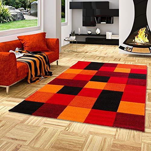 Designer Teppich Brilliant Rot Orange Karo in 4 Größen