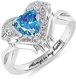 Anillo de plata de ley 925 MSYOU anillo de alas de ángel tallado con su piedra de cumpleaños Anillo de pareja de plata de ley 925 anillo de boda anillo de compromiso Plata
