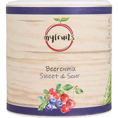 myfruits® Beerenmix - Sweet & Sour - Mischung aus gefriergetrockneten Früchten - Ohne Zuckerzusatz - Sauerkirschen - Cranberries - Wildheidelbeeren (100g)